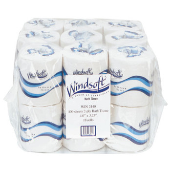Windsoft Embossed Bath Tissue, 2-Ply, 400 Sheets/Roll (18 CT/BX)