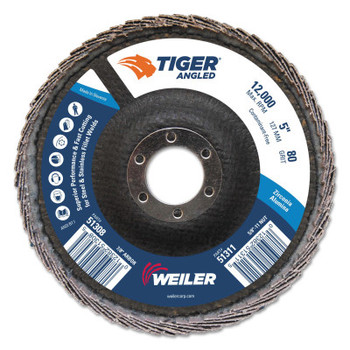 Weiler Tiger Zirconium Angled Flap Discs, 5 in Dia, 80 Grit, 12000 rpm (10 BX/EA)