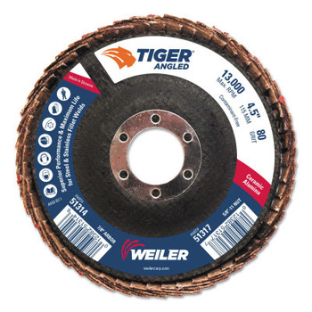 Weiler Tiger Ceramic Angled Flap Discs, 7/8 in, 80 Grit, 10 per Box (10 BX/EA)
