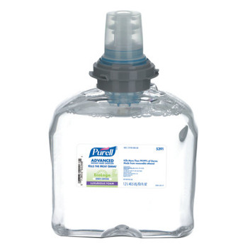 Gojo TFX Green Certified Instant Hand Sanitizer Foam Refill, 1200mL, Clear (2 CT/EA)