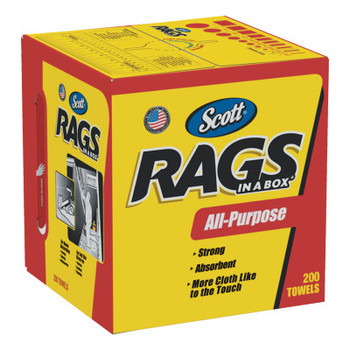 Kimberly-Clark Professional Rags in a Box, POP-UP Box, 10 x 12, White, 200/Box (1 CT/EA)