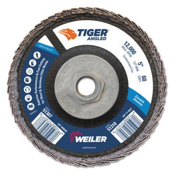 Weiler Tiger Zirconium Angled Flap Discs, 5 in Dia, 60 Grit, 5/8 in-11 Arbor, 12000 rpm (10 BX/EA)