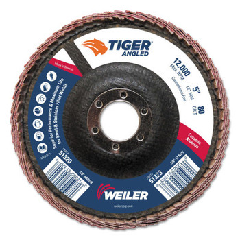 Weiler Tiger Ceramic Angled Flap Discs, 5 in Dia, 80 Grit, 12000 rpm (10 BX/EA)