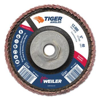 Weiler Tiger Ceramic Angled Flap Discs, 5 in Dia, 40 Grit, 5/8 in-11 Arbor, 12000 rpm (10 BX/EA)