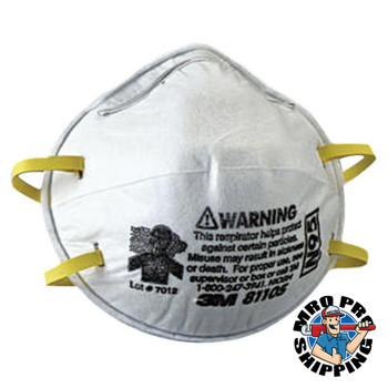 3M N95 Particulate Respirators, Half Facepiece, Two fixed straps, Sm (20 EA)