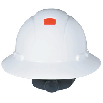 3M Full Brim Hard Hats with Uvicator, 4 Point, Ratchet, White (1 EA)
