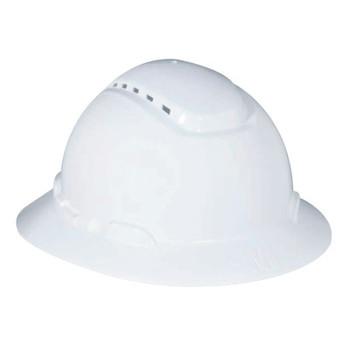 3M Vented Full Brim Hard Hats, 4 Point, Ratchet, White (20 EA)