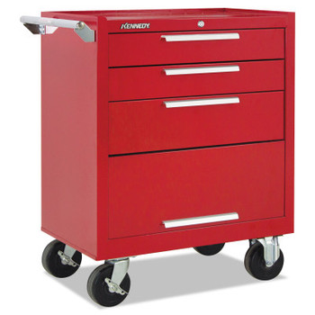Kennedy Industrial Roller Cabinets with Swing-down Panel, 3 Drawer, 27 in High, Red (1 EA/EA)