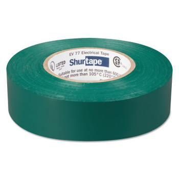 Shurtape EV 77 Professional Grade Electrical Tapes, 66 ft x 3/4 in, Green, 100/case (100 CA/EA)