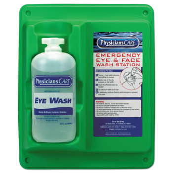 First Aid Only Wall Mountable Eyewash Stations, Single 32 oz. Bottle, 6 per case (6 CA/EA)