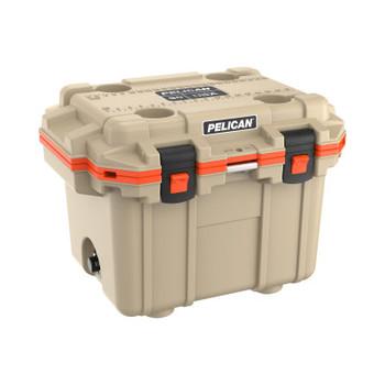 Pelican 30QT Elite Coolers, 32.95 qt, 19 inx 25.3 in x 18.5 in, Tan/Orange (1 EA/PKG)