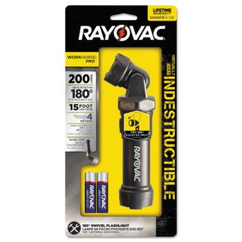 Rayovac Workhorse Pro 4AA LED Virtually Indestructible Swivel Flashlights, 200 lms,Black (2 EA/EA)