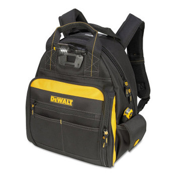 CLC Custom Leather Craft Lighted Tool Backpacks, 8 in x 15.5 in, 57 Compartments, Yellow/Black (1 EA/EA)