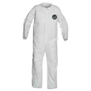 DuPont ProShield 50 Coveralls, White, X-Large, Collar, Front Zip Closure, Serged Seams (25 CA/EA)