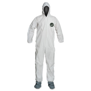 DuPont ProShield 50 Coveralls, XL, Hood, Skid-Resistant Boots, Zip, Serged (25 CA/EA)
