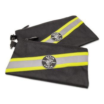 Klein Tools High Visibility Zipper Bags, 2 Compartments, 5 1/2 in x 10 in (2 PK/EA)