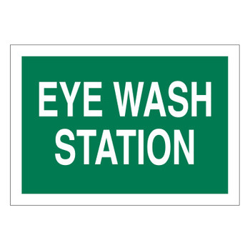 Brady Eye Wash Station Signs, White on Green (1 EA/EA)