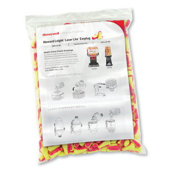 Honeywell Earplug Dispenser Refills, Bag, Magenta/Yellow, Laser Lite (1 CA/EA)