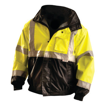 OccuNomix Premium Four-Way Original Bomber Jackets, Large, Polyester, Hi-Vis Yellow (1 EA/EA)
