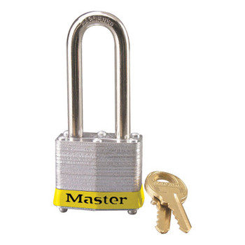 Master Lock Laminated Steel Safety Padlocks, 9/32 in D, 2 in L x 5/8 in W, Yellow (6 EA/ST)
