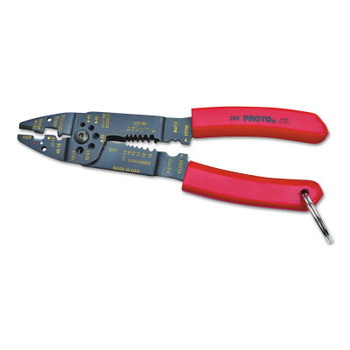 Stanley Products Tether-Ready Wire Stripper/Crimper Pliers, 8 1/2 in, 22-10AWG, Red (1 EA/PR)