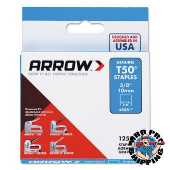 Arrow Fastener T50 Type Staples, 3/8 in L x 3/8 in W, 1,250 per box (24 CA/CA)