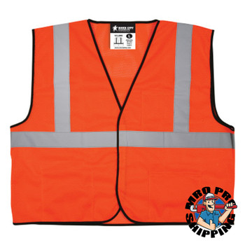 MCR Safety Safety Vests, Large, Fluorescent Orange (1 EA/CT)