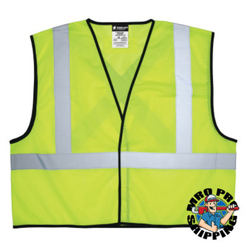 MCR Safety Safety Vests, Medium, Fluorescent Lime (1 EA/CT)