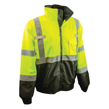 Radians SJ110B Two-in-One High Visibility Bomber Safety Jackets, M, Polyester, Green (1 EA/CN)
