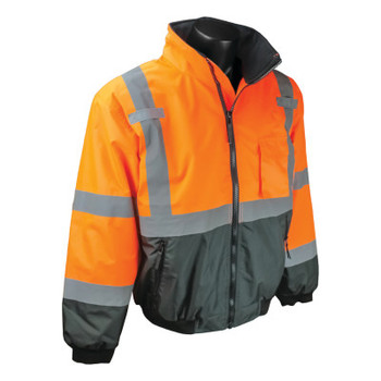 Radians SJ110B Two-in-One High Visibility Bomber Safety Jackets, L, Polyester, Orange (1 EA/CA)