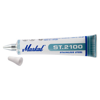 Markal ST.2100 Tube Markers, 3/16 in Tip, Metal Ball Tip, White (48 CA/EA)