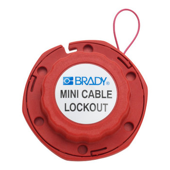 Brady Mini Cable Lockouts with Metal Cables, 0.31 in Dia. Shackle, 8ft Cable, Red (1 EA/EA)