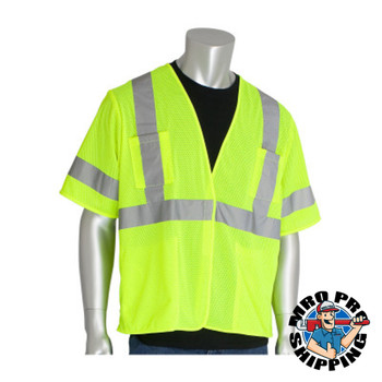 Protective Industrial Products, Inc. ANSI Type R Class 3 Value Four Pocket Mesh Vests, 6X-Large, Hi-Viz Yellow (50 CA/PK)