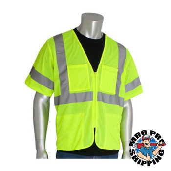 Protective Industrial Products, Inc. ANSI Type R Class 3 Value Four Pocket Zipper Mesh Vests, Large, Hi-Viz Yellow (50 CA/CA)