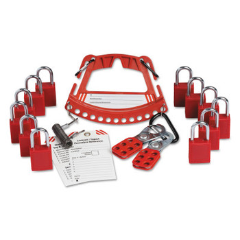 Brady Safety Lock and Tag Carriers, (12) Padlocks; (2) Lockout Hasps, Red (1 KT/CA)