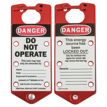 Brady Labeled Lockout Hasps, 0.3125 in Dia Shackle, 3w x 0.157d x 7.512h, Red (1 EA/RL)