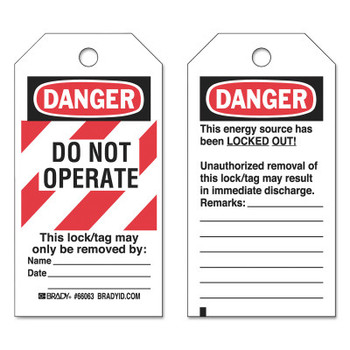 Brady Lockout Tags, 3 in x 5 3/4 in x 0.0098 in, Danger Do Not Operate This Lock, Red (25 PK/CA)