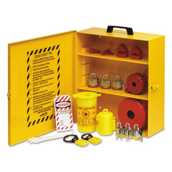 Brady Industrial Strength Lockout Stations, 1.5 in Dia Shackle, 14w x 6d x 16h, Yellow (1 ST/RL)