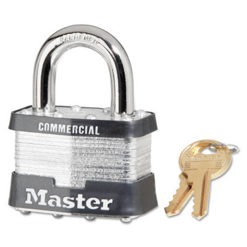 Master Lock Laminated Steel Pin Tumbler Padlocks, 3/8 in Dia, 15/16 in Width, Chrome (6 BX/CS)