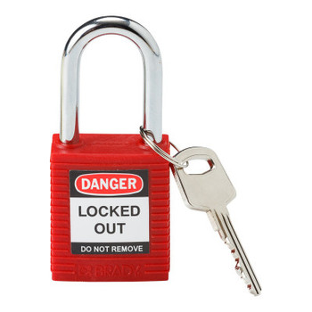 Brady Safety Padlocks, 1/4 in Shackle Dia., 1 1/2 in Long, Red (1 EA/CS)