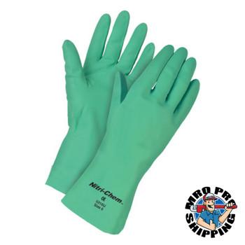 MCR Safety Nitri-Chem Nitrile Gloves, Straight, Unlined, 2X-Large, Green (12 DZ/EA)