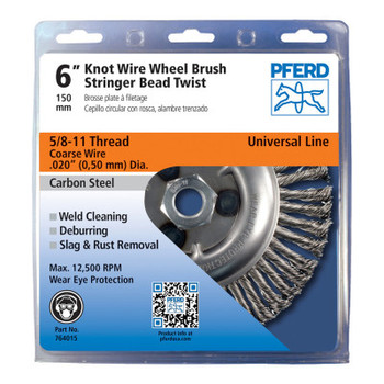Pferd Economy Power Brushes, 6 in Dia., 5/8 in - 11, 48 Knots, 12,500 rpm (5 EA/BOX)