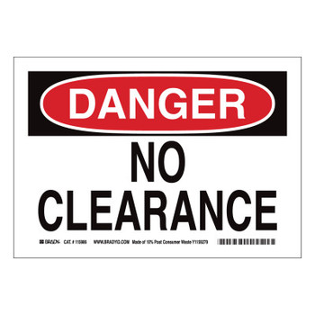 Brady DANGER No Clearance Signs, Red on White (1 EA/EA)
