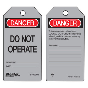 Master Lock Danger Do Not Operate - Metal Detectable Safety Tags, 3 in x 5 3/4 in, Gray (6 BG/CA)