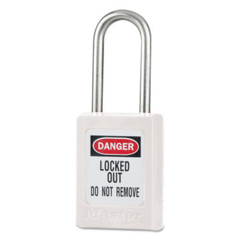 Master Lock Zenex Thermoplastic Safety Padlocks, 3/16 in Dia, 5/8 in Width, White (1 EA/EA)