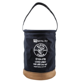 Klein Tools Flame-Resistant Canvas Bucket, 100 lb Capacity, Black (1 EA/EA)