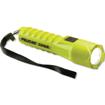 Pelican 3315R Flashlight, LED, 135/15 Lumen, 18650 Battery, 5/34 hr, Yellow (24 CA/CS)