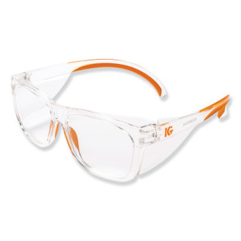 Kimberly-Clark Professional KLEENGUARD MAVERICK Safety Glasses, Clear Anti-Fog/Scratch Lens, Clear/Orange (12 CA/EA)