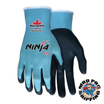 MCR Safety Ninja FLT Coated Palm and Fingers, Large, Blue/Black (12 DZ/EA)