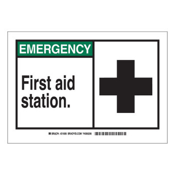 Brady EMERGENCY First Aid Station Signs,  10w x 7h, Black/Green (1 EA/CTN)